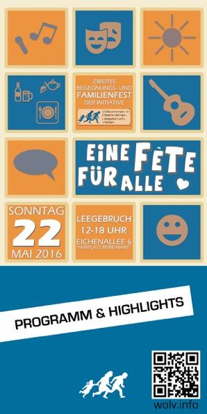 Programmbroschüre zum 2. Willkommensfest am 22. Mai 2016 in Leegebruch